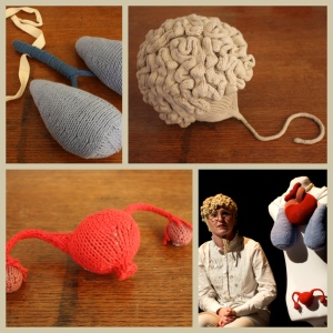 "Knitted exo-organs (they actually magnatized to the dancer's clothing!) for my own work ""Organ Stories"" performed by Krista Posyniak (2011)."