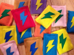 Superhero lightening bolt bean bags!