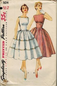 Simplicity 1614 50s Bateau Neckline DRESS Full SKIRT & EMPIRE midriff Vintage Sewing Pattern