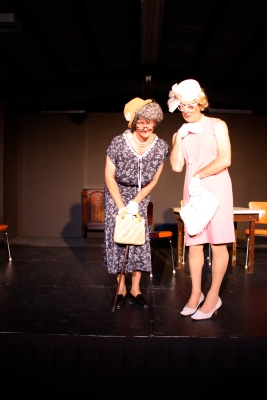"Aunt Pearl Burras & Vera Carp viewing the recently deceased Judge Buckner in ""Greater Tuna"" for New Actors Colony Theatre, Bala, ON (2012)."