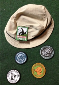 Petey Fisk's hat with the interchangeable (velcro) animal awareness patches.