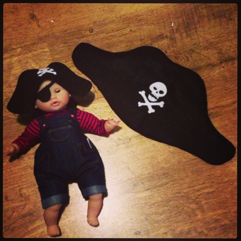 Felt pirate hat and matching dolly