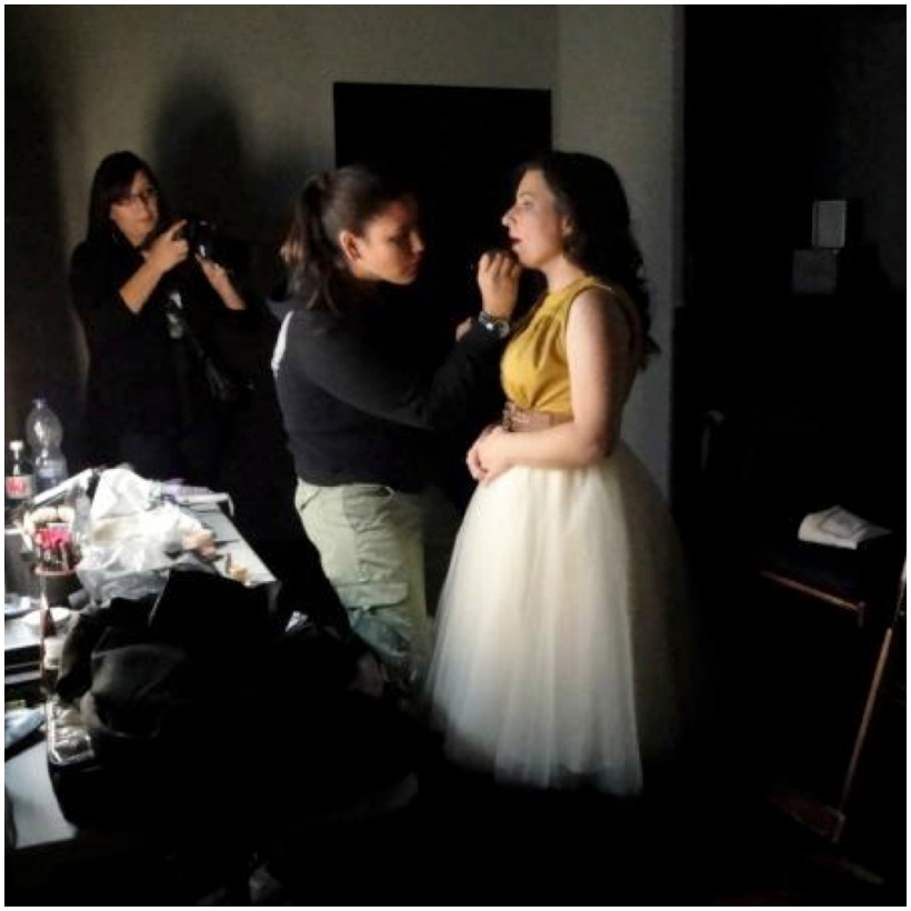 A last minute make up touch near the end of the shoot. We started late and went all night, needing the darkness. I love this. And I love that I got my friend the folk singer into a tulle skirt inspired by the romantic ballets - worlds colliding!