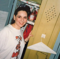 Lovely Lisa circa. 1998 in front of our floral locker and sporting performance make up. She may kick me for including this, but she's so sweet, non?! I couldn't resist!